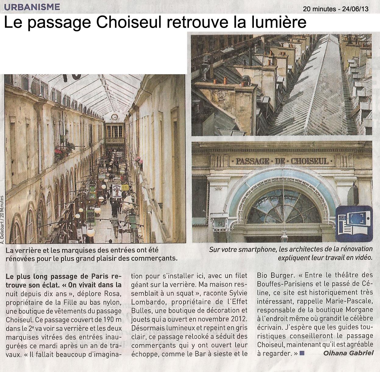 Le passage Choiseul retrouve la lumière et son cadran